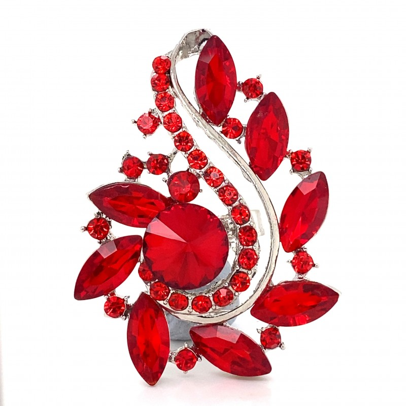 Red Crystal Diamante Ring 07