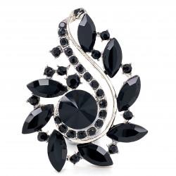 Black Crystal Diamante Ring 07