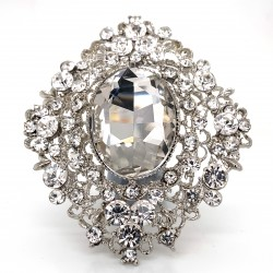Clear Crystal Diamante Ring 12