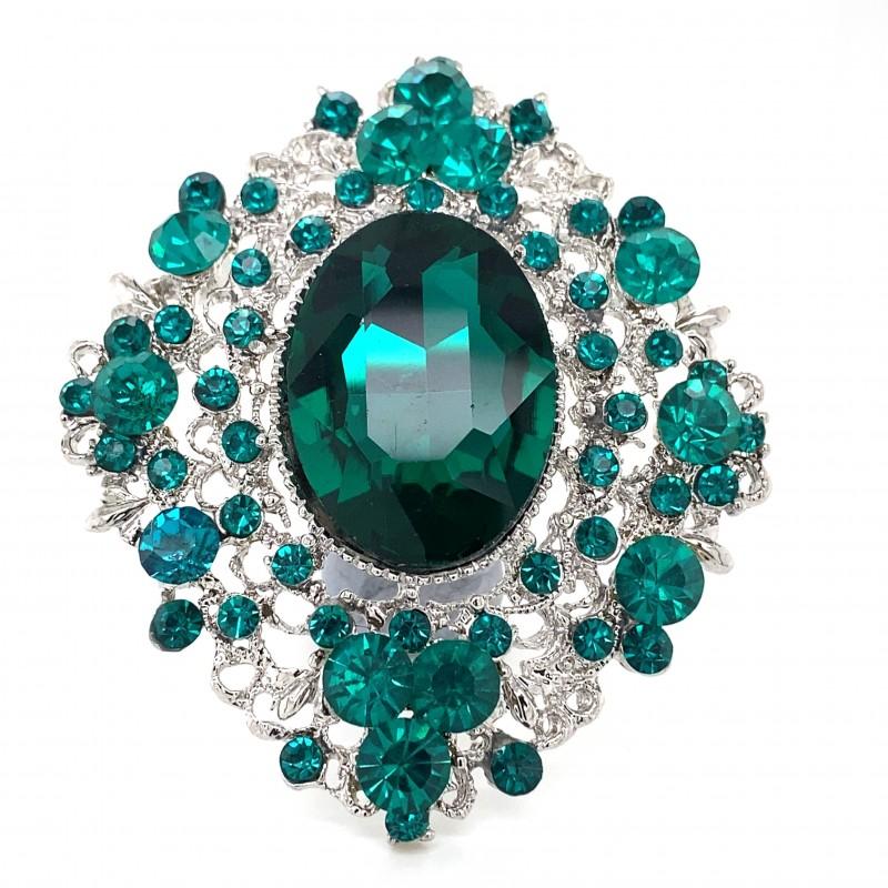 Emerald Green Crystal Diamante Ring 12