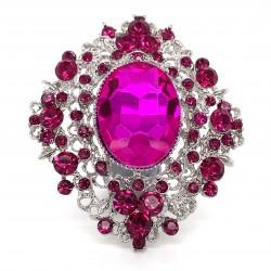 Pink Crystal Diamante Ring 12