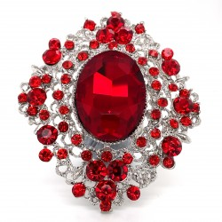 Red Crystal Diamante Ring 12