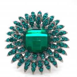 Emerald Green Crystal Diamante Ring 11