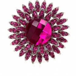 Pink Crystal Diamante Ring 11