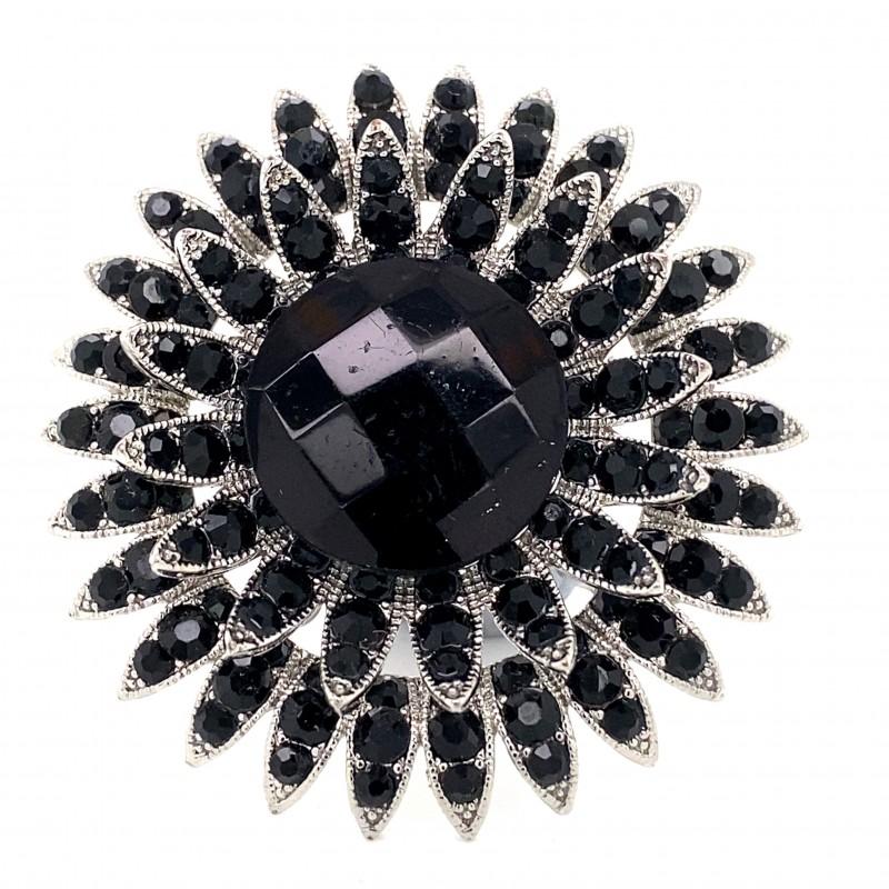 Black Crystal Diamante Ring 11