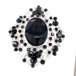 Black Crystal Diamante Ring 12