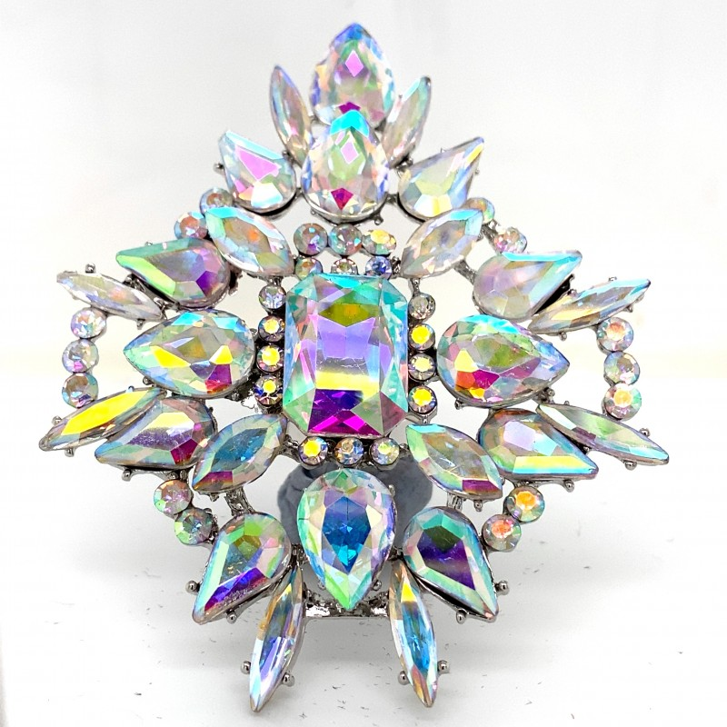 Aurora Borealis Crystal Diamante Ring 09