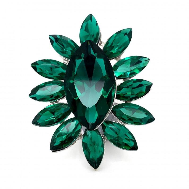 Emerald Green Crystal Diamante Ring 6