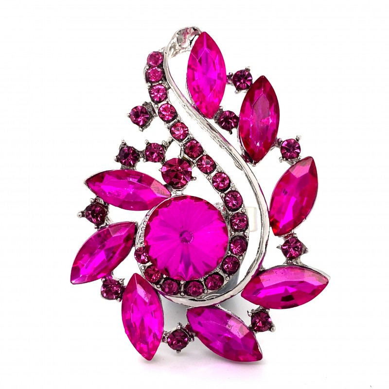 Pink Crystal Diamante Ring 07