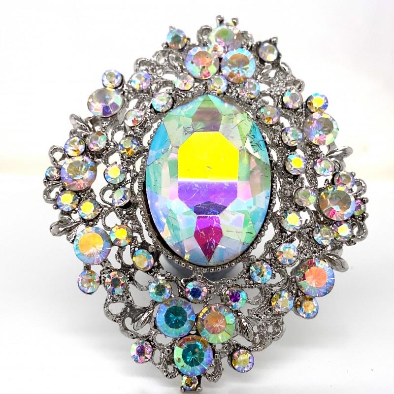 Aurora Borealis Crystal Diamante Ring 12