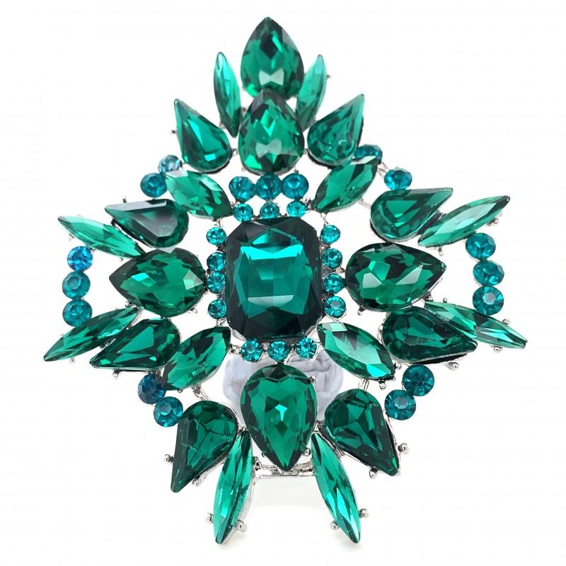 Emerald Green Crystal Diamante Ring 09