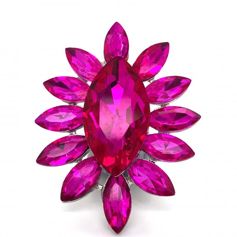 Pink Crystal Diamante Ring 6