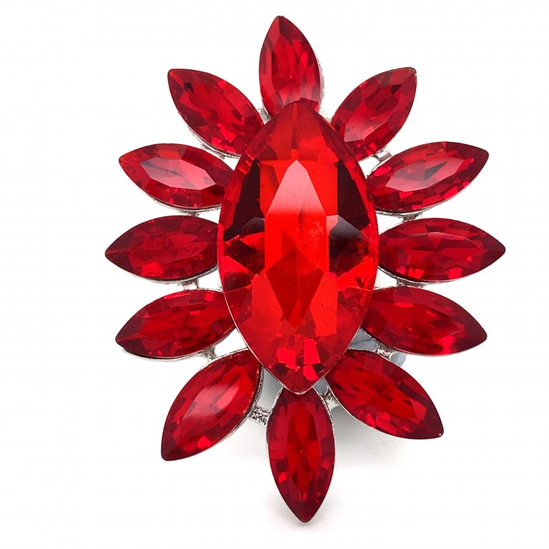 Red Crystal Diamante Ring 6