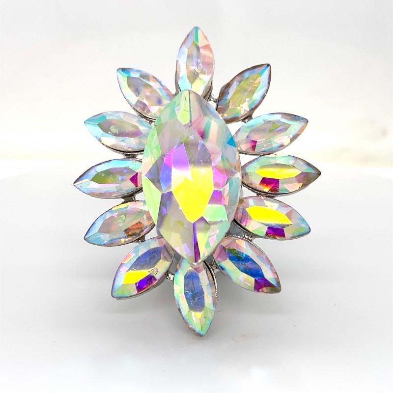 Aurora Borealis Crystal Diamante Ring 6