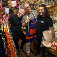 Love it when friends drop in! Thanks for coming @philmahbocks and @dragvintage after a fabulous @kylieminogue installation @sydolympicpark 💛✨💛 #shoppingspree #bravo #artistsoninstagram #costumeshop #houseofpriscilla
